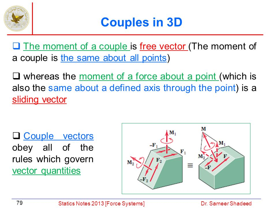 Couple vectors obey all of the rules which govern vector quantities