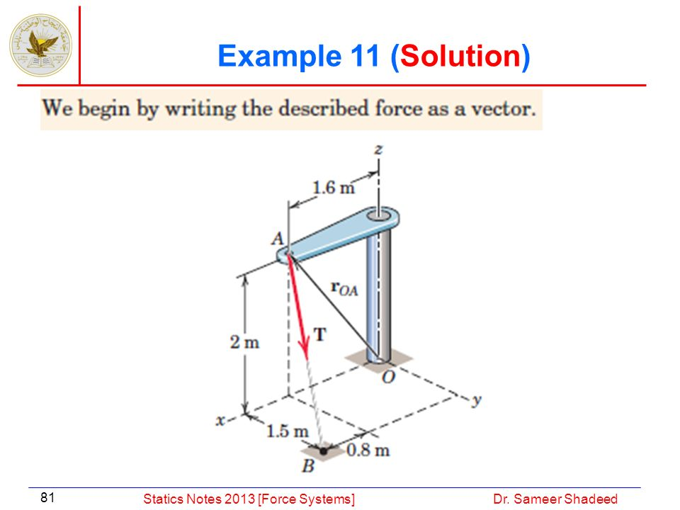 Example 11 (Solution) Statics Notes 2013 [Force Systems]