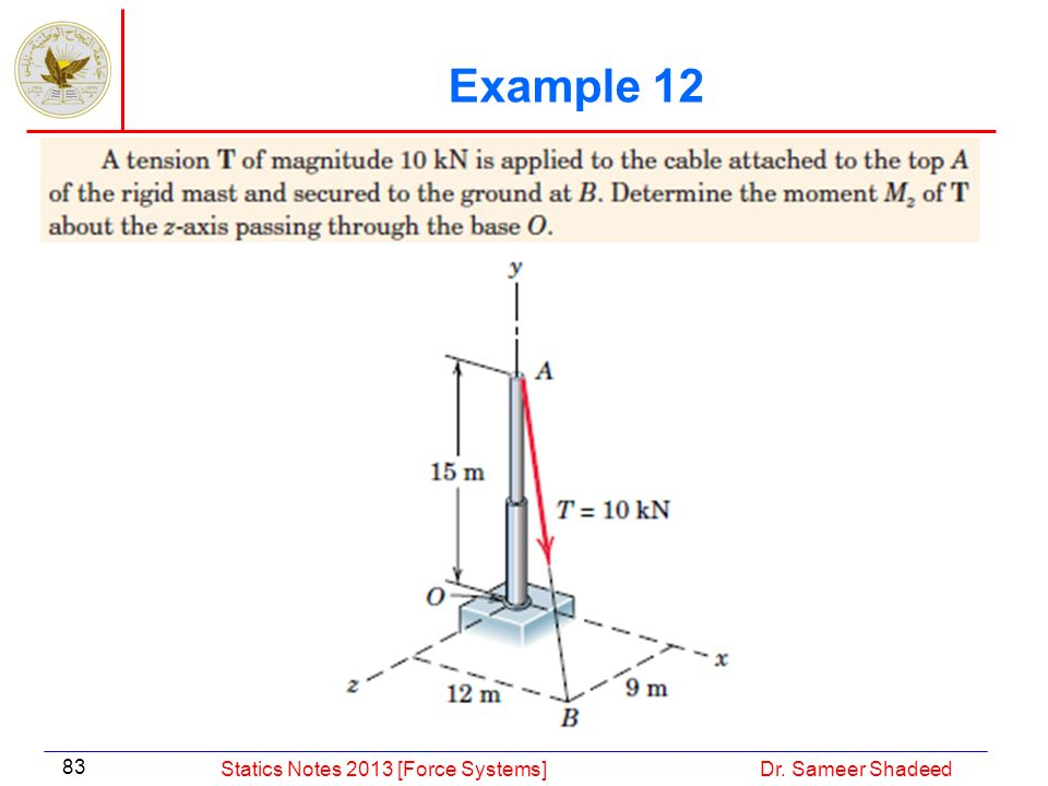 Example 12 Statics Notes 2013 [Force Systems] Dr. Sameer Shadeed