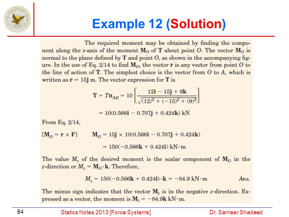 Example 12 (Solution) Statics Notes 2013 [Force Systems]