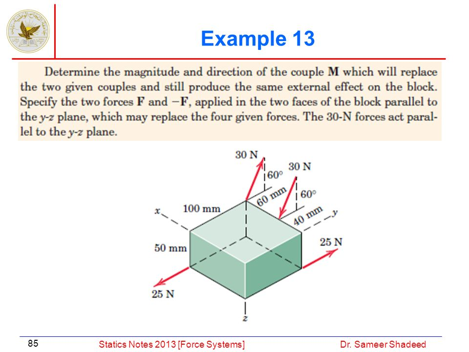 Example 13 Statics Notes 2013 [Force Systems] Dr. Sameer Shadeed