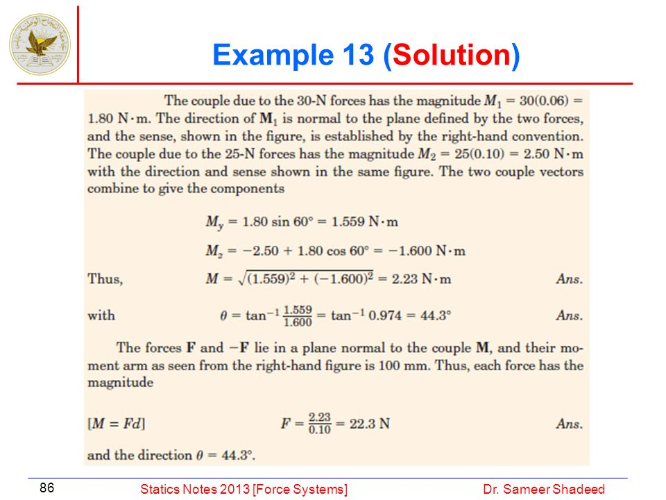 Example 13 (Solution) Statics Notes 2013 [Force Systems]