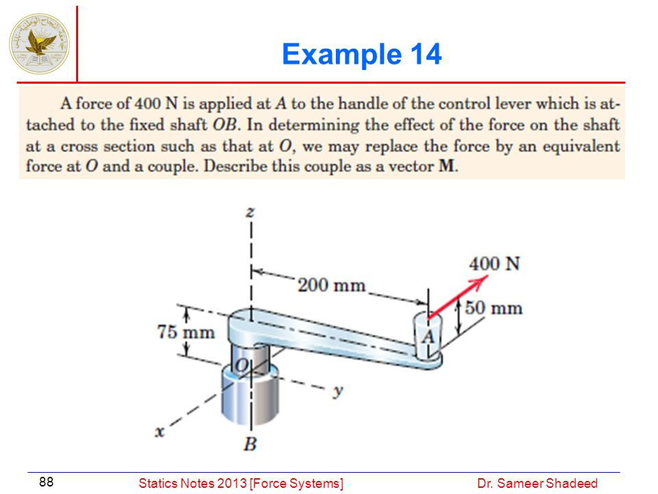 Example 14 Statics Notes 2013 [Force Systems] Dr. Sameer Shadeed