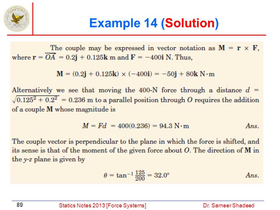 Example 14 (Solution) Statics Notes 2013 [Force Systems]