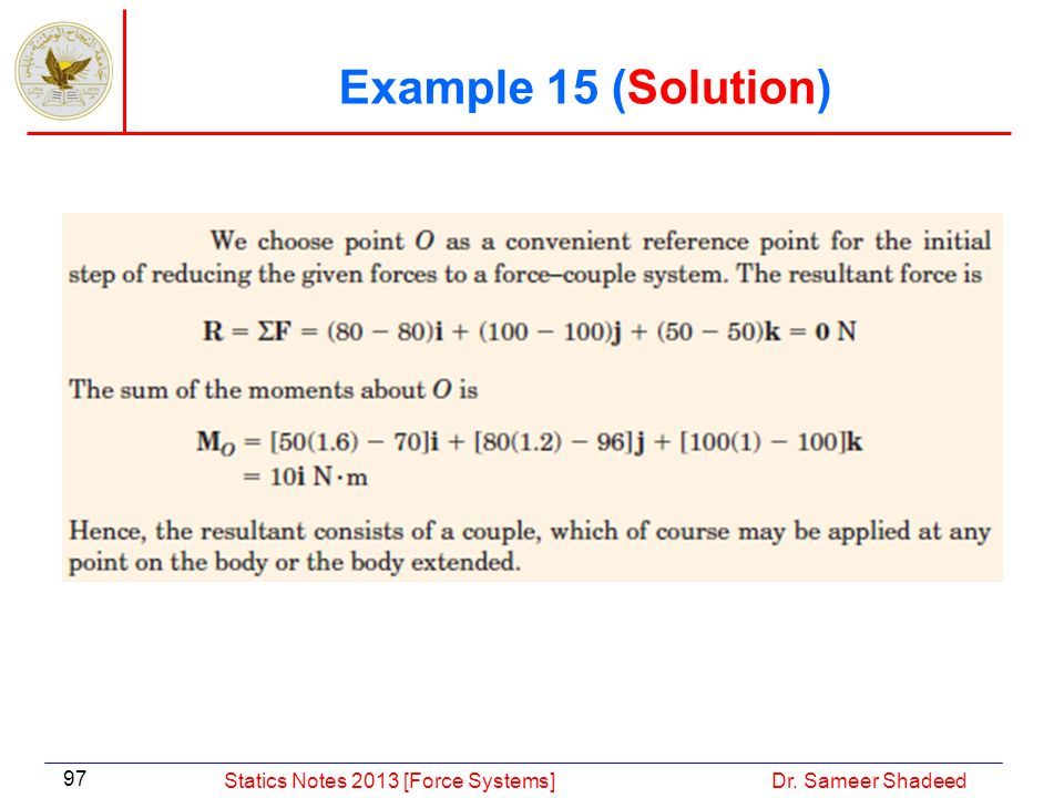 Example 15 (Solution) Statics Notes 2013 [Force Systems]