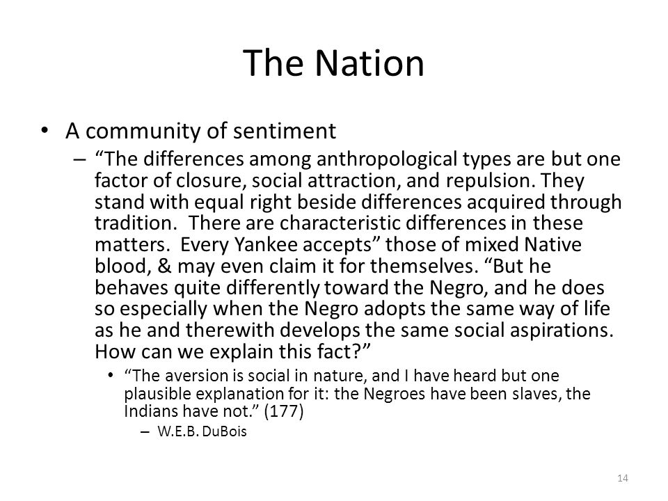 The Nation A community of sentiment