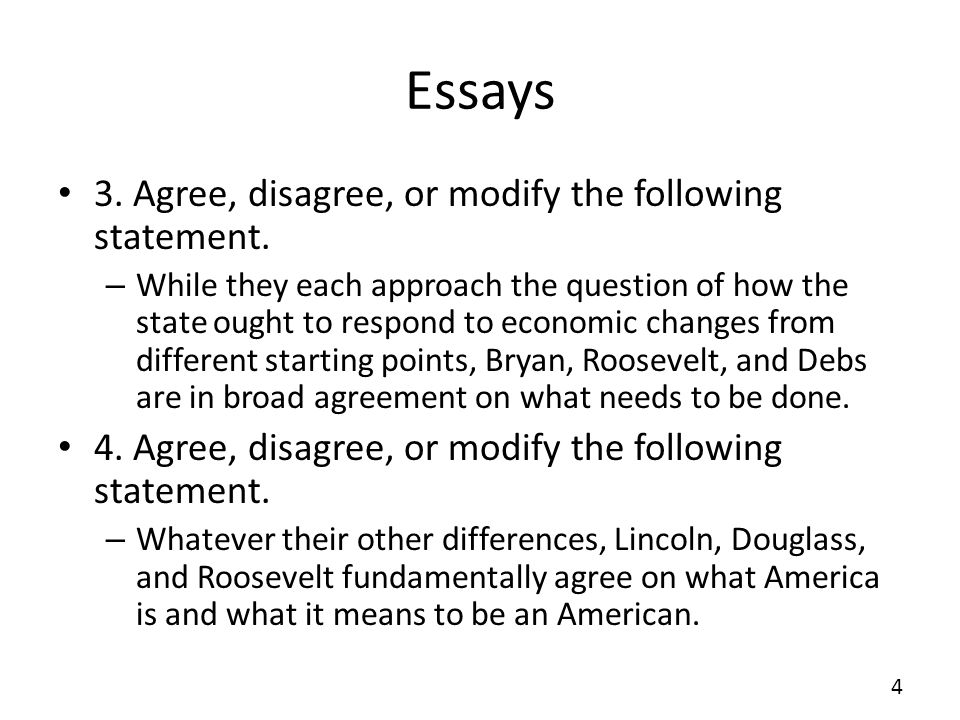 Essays 3. Agree, disagree, or modify the following statement.