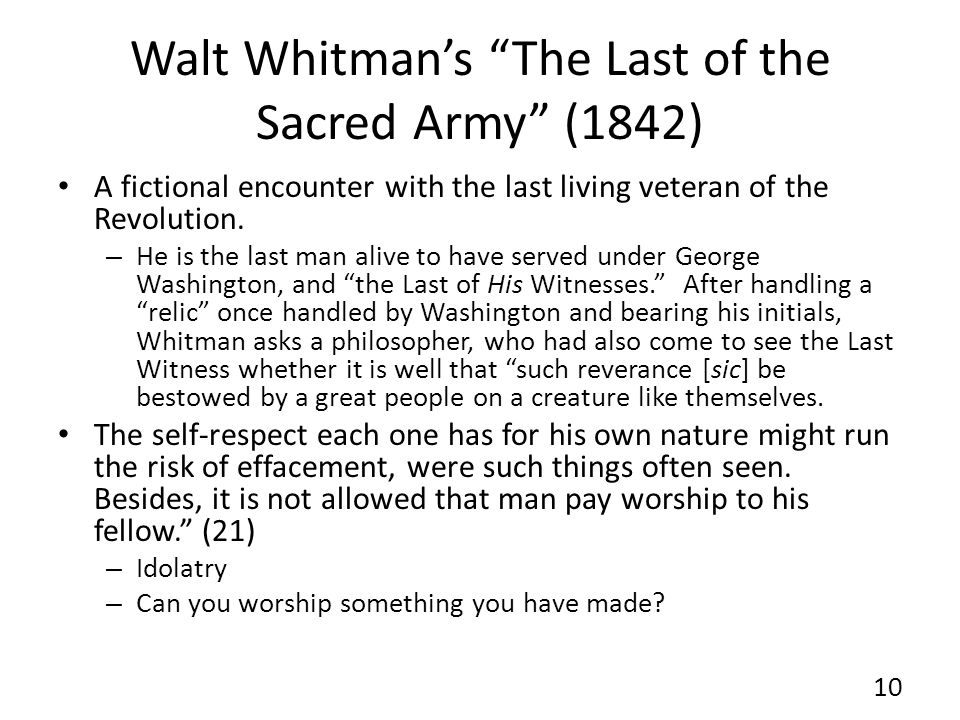 Walt Whitman's The Last of the Sacred Army (1842)