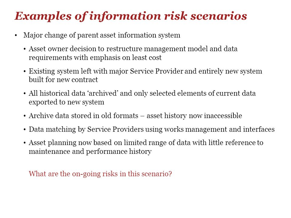Examples of information risk scenarios