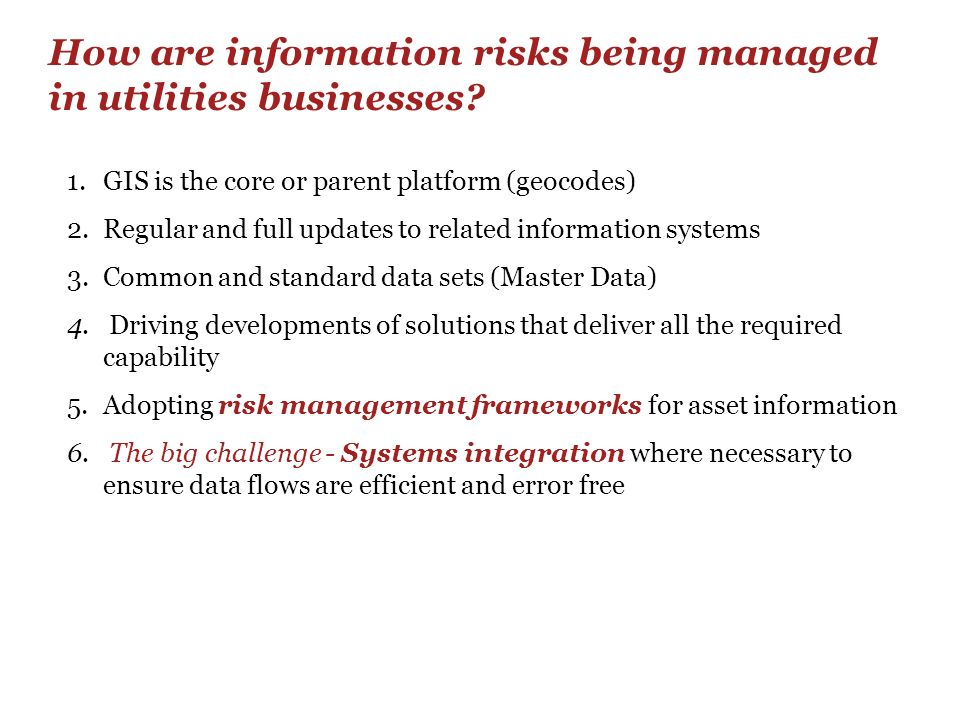 How are information risks being managed in utilities businesses
