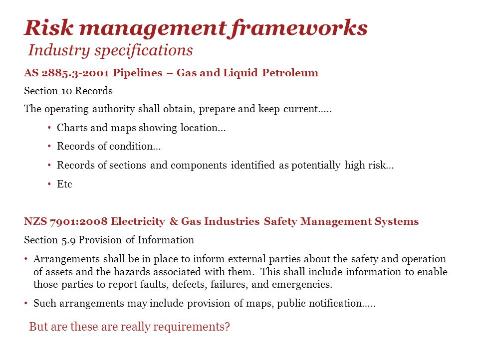 Risk management frameworks Industry specifications