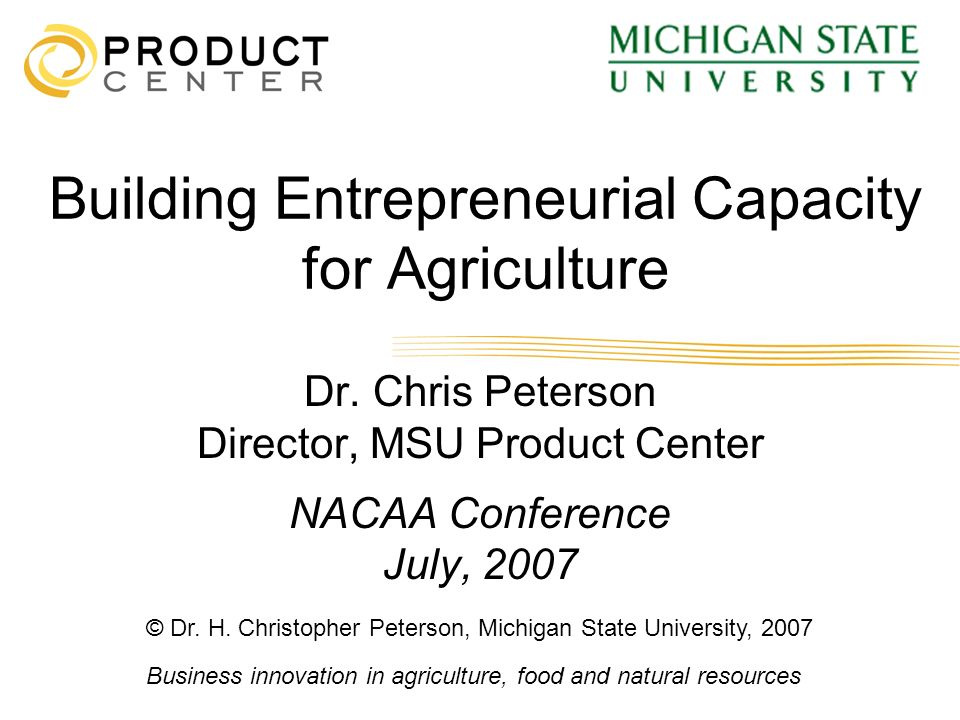 Building Entrepreneurial Capacity for Agriculture