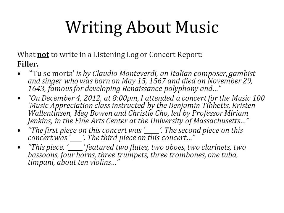 how to write a music report