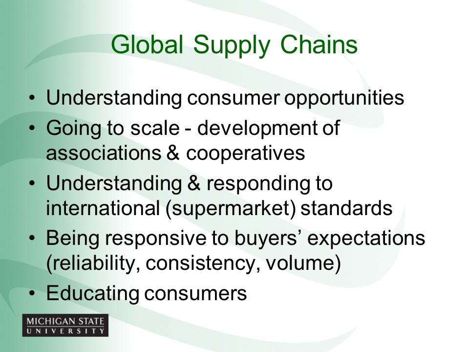Global Supply Chains Understanding consumer opportunities