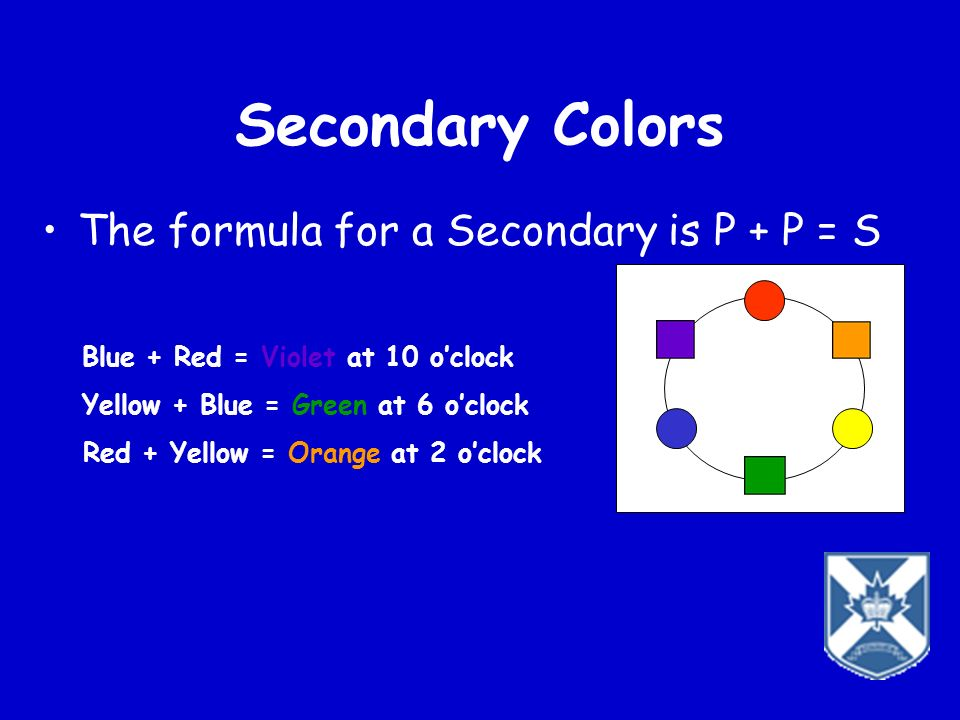 Secondary Colors The formula for a Secondary is P + P = S