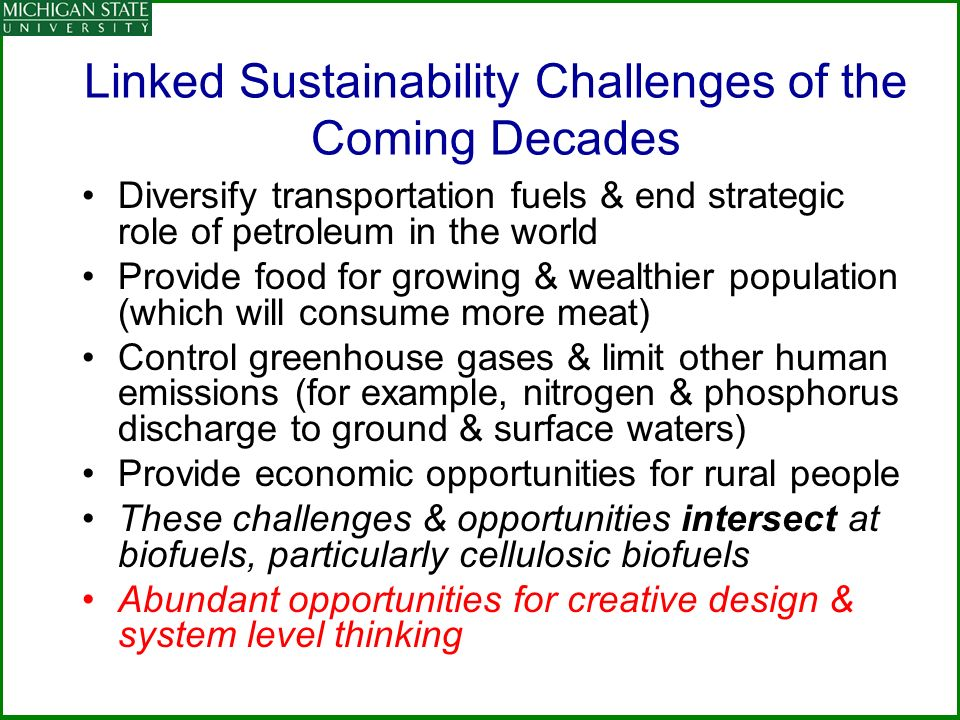 Linked Sustainability Challenges of the Coming Decades