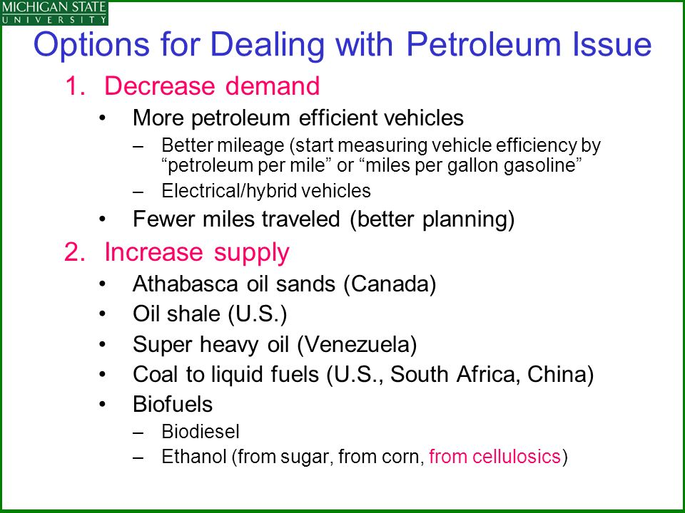 Options for Dealing with Petroleum Issue