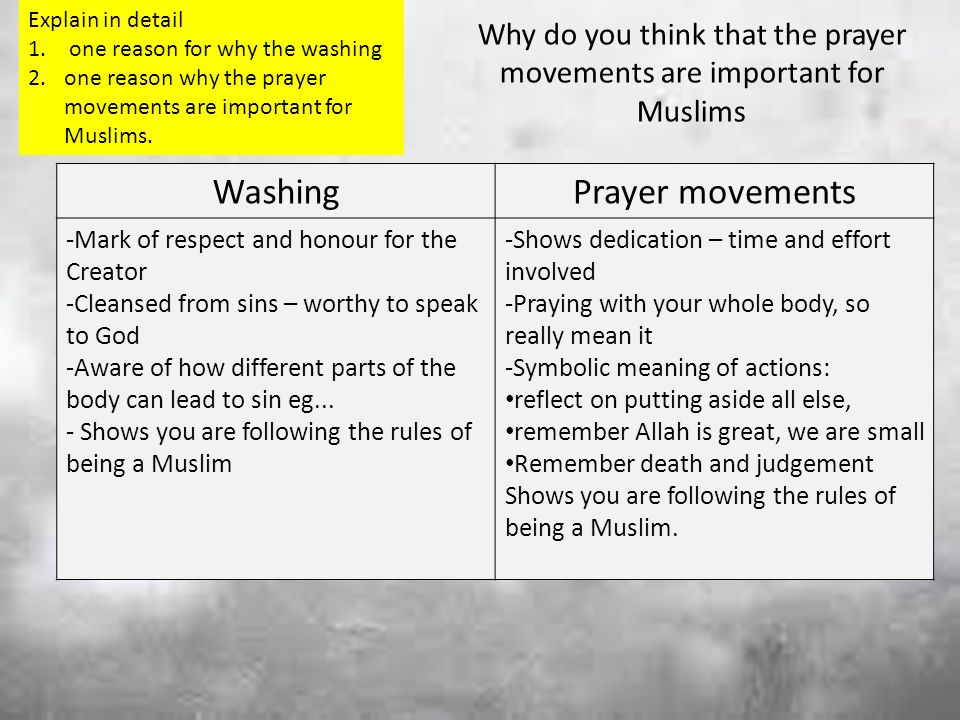 Homework – for Mon Do a poster for a mosque to explain the 4th