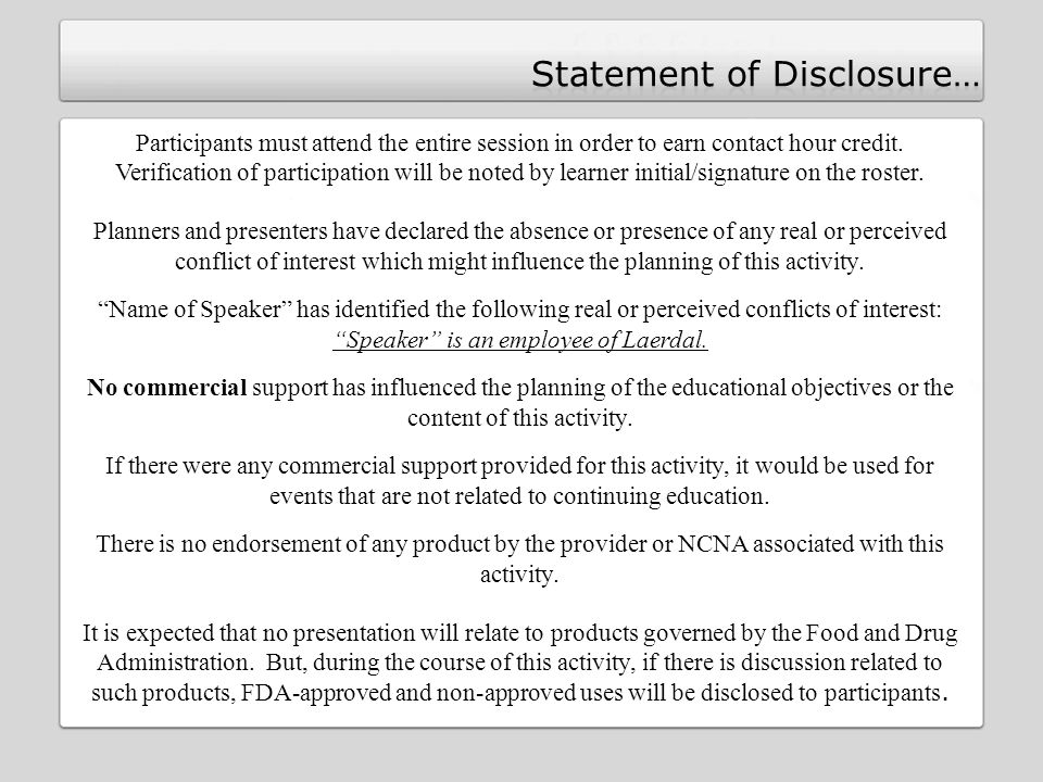 Statement of Disclosure…
