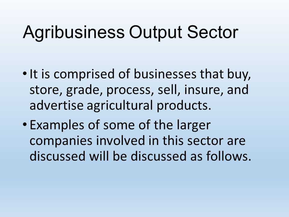 Identifying and understanding various agribusiness companies ppt.