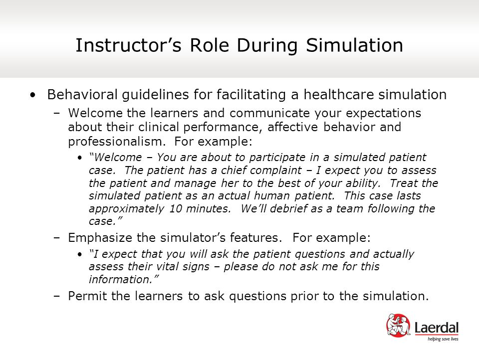 Instructor's Role During Simulation