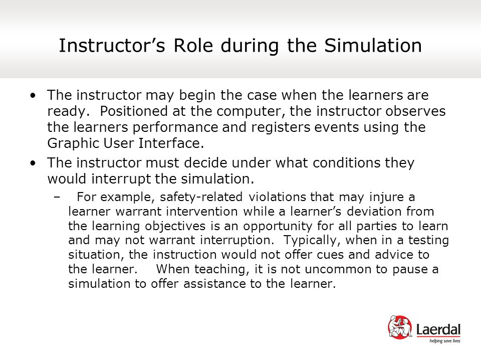 Instructor's Role during the Simulation