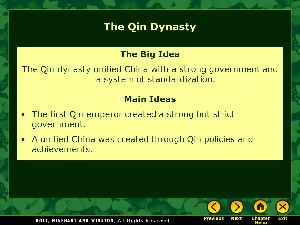 The Qin Dynasty The Big Idea