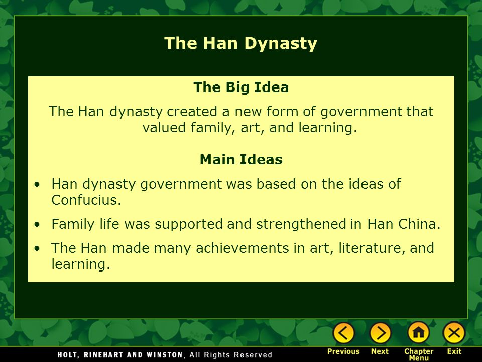 The Han Dynasty The Big Idea
