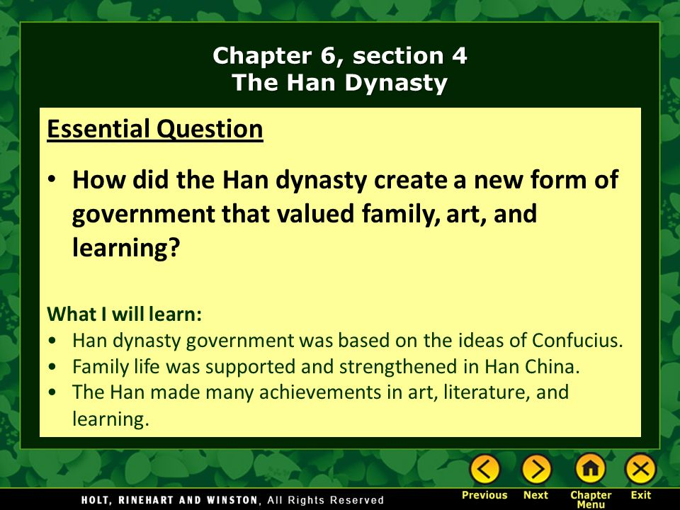 Chapter 6, section 4 The Han Dynasty