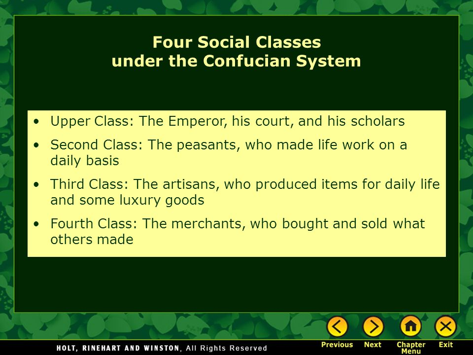 Four Social Classes under the Confucian System