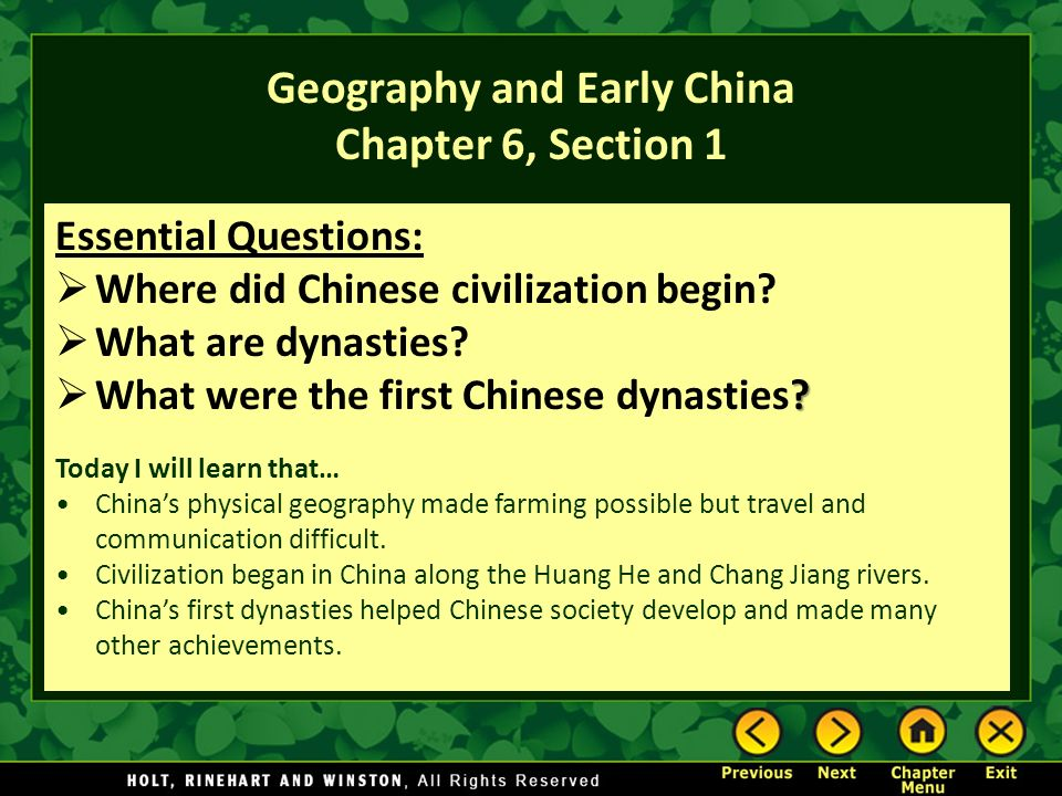 Geography and Early China Chapter 6, Section 1