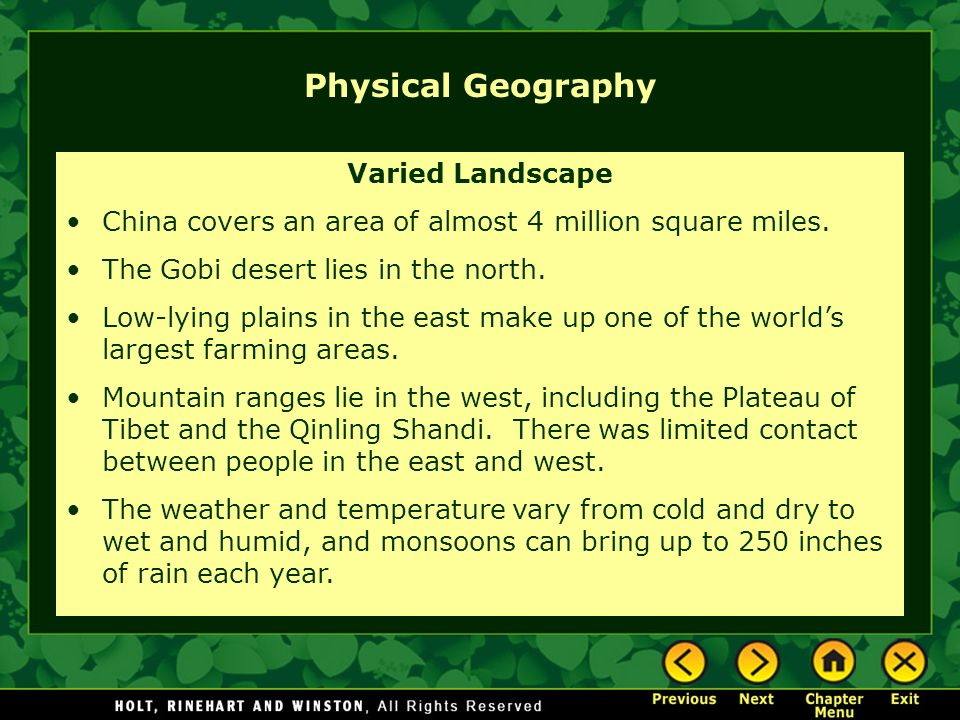Physical Geography Varied Landscape