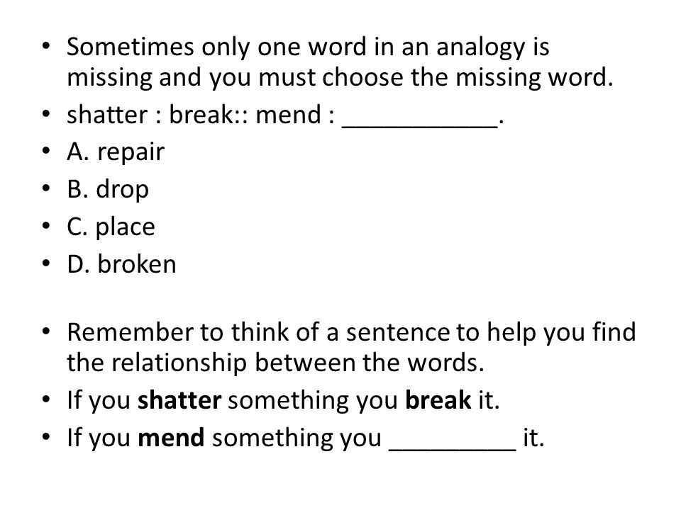 word for missing something