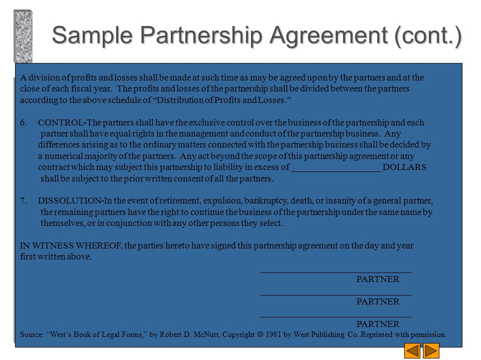 Sample Partnership Agreement (cont.)