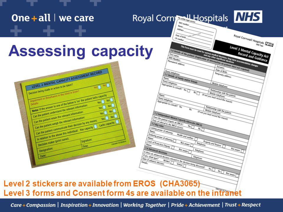 Assessing capacity Level 2 stickers are available from EROS (CHA3065)