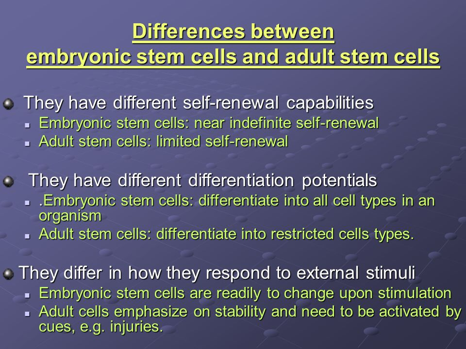 cell difference between embryonic stem Adult