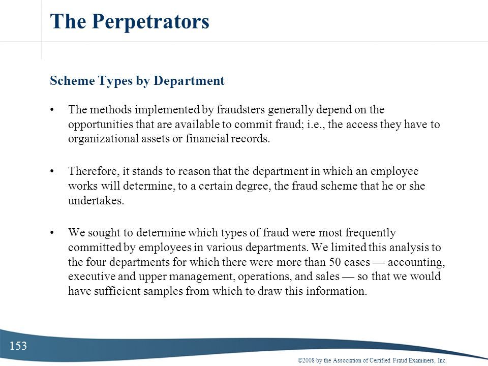 The Perpetrators Scheme Types by Department