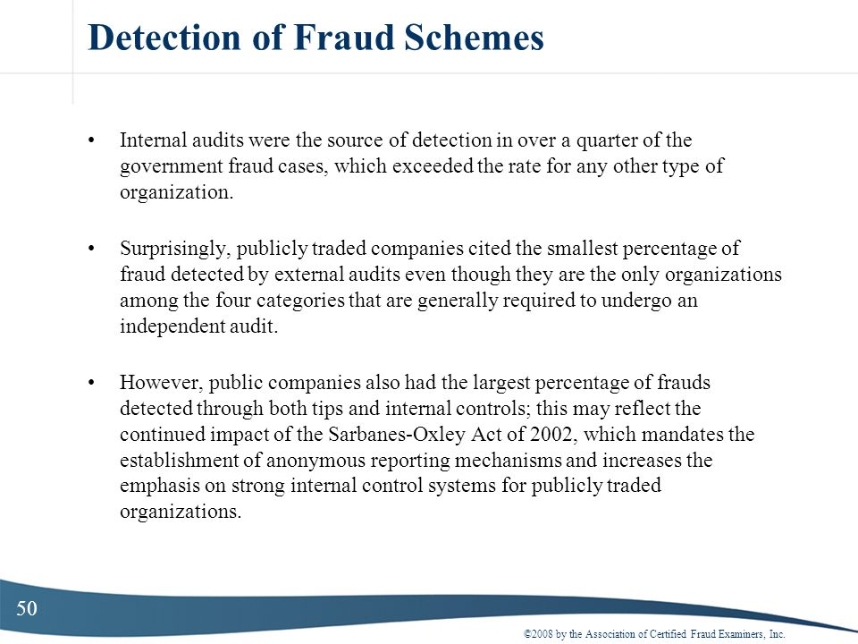 Detection of Fraud Schemes