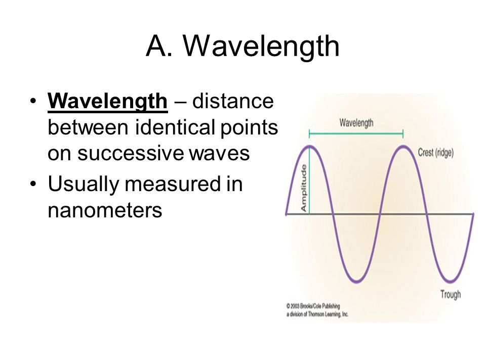 A. Wavelength Wavelength – distance between identical points on successive waves.