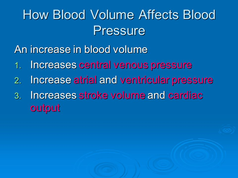 How Blood Volume Affects Blood Pressure