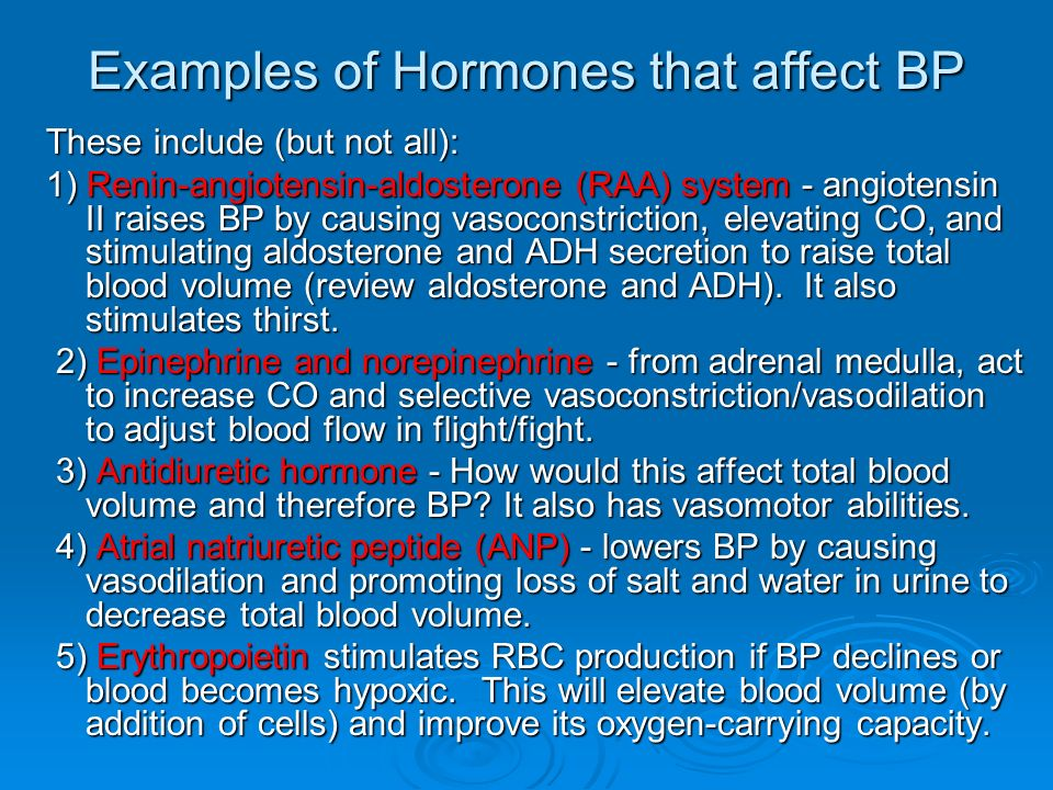 Examples of Hormones that affect BP
