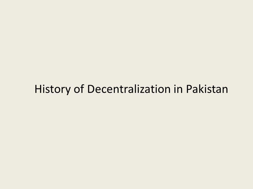 history of decentralization in pakistan
