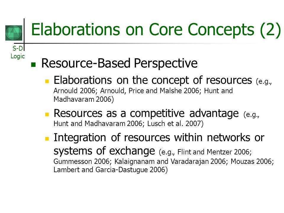 Elaborations on Core Concepts (2)