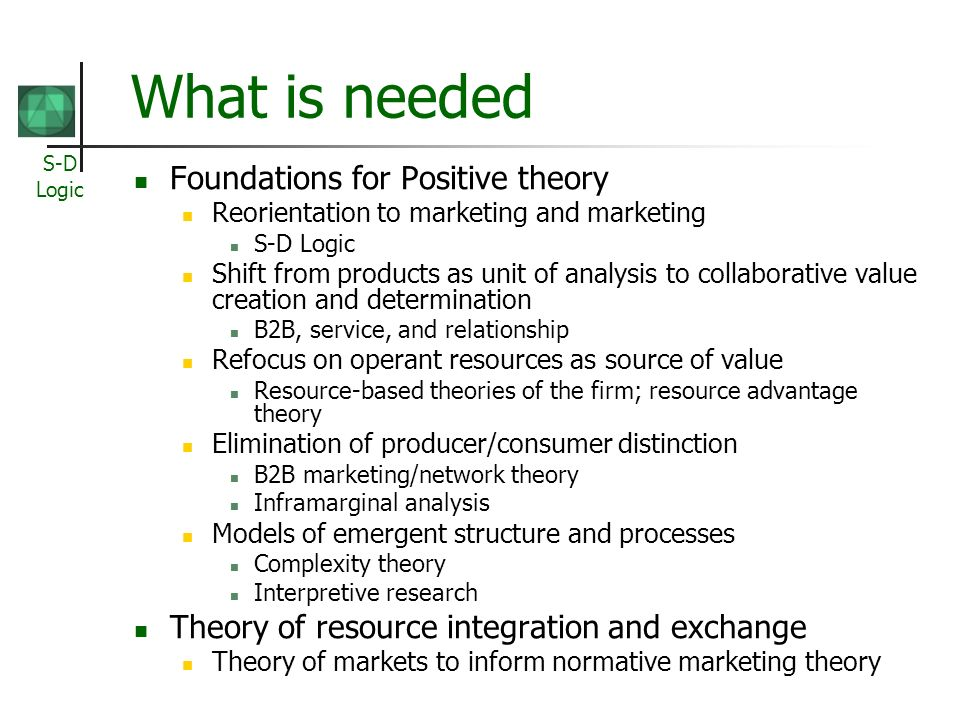 What is needed Foundations for Positive theory