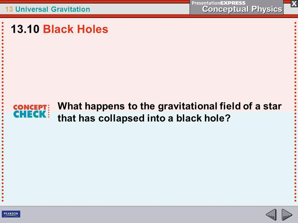 13.10 Black Holes What happens to the gravitational field of a star that has collapsed into a black hole