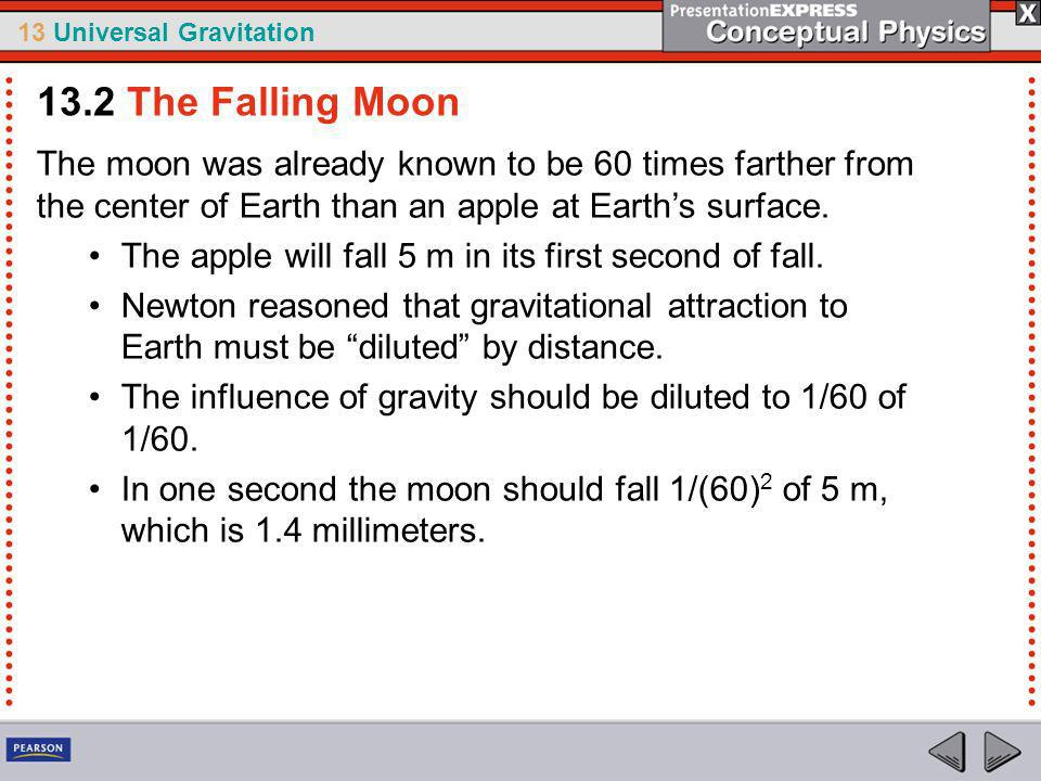 13.2 The Falling Moon The moon was already known to be 60 times farther from the center of Earth than an apple at Earth's surface.