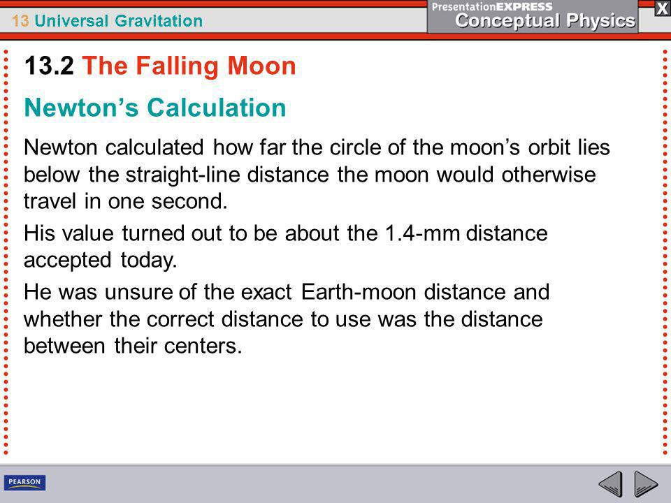 13.2 The Falling Moon Newton's Calculation