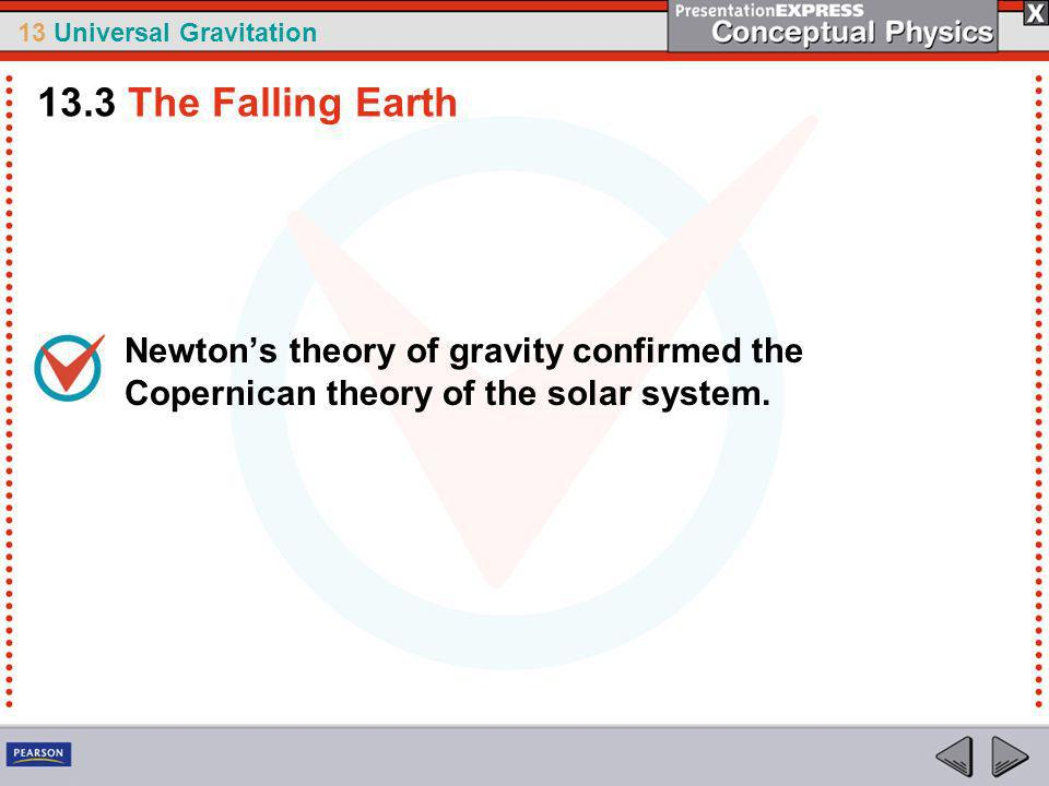 13.3 The Falling Earth Newton's theory of gravity confirmed the Copernican theory of the solar system.