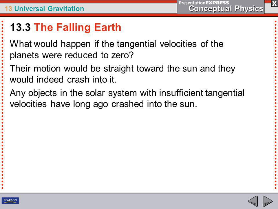 13.3 The Falling Earth What would happen if the tangential velocities of the planets were reduced to zero
