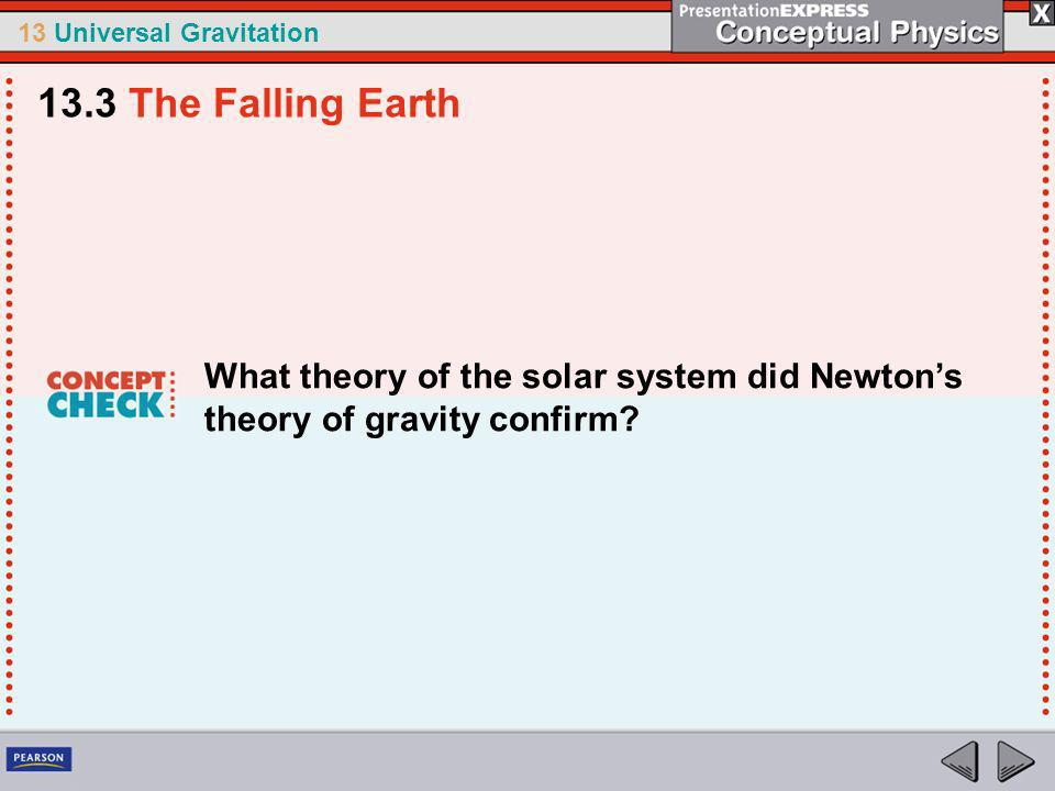 13.3 The Falling Earth What theory of the solar system did Newton's theory of gravity confirm